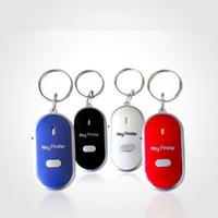 keychain klingt großhandel-LED Key Finder Locator 4 Farben Voice Sound Whistle Control Locator Schlüsselbund Control Torch Card Blister Pack EEA240