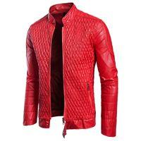vestes florales achat en gros de-Le nouveau cuir des hommes en cuir PU de luxe dispose de la forme en maille populaire. Automne nouvelle veste européenne et américaine de code européen grande taille leat