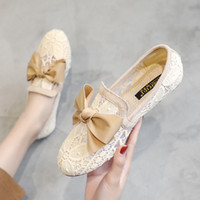 Wholesale nursing shoes summer resale online - Shoes Bow Knot Casual Female Sneakers Dress Flats Women Round Toe New Butterfly Summer Nurse Lace PU Cotton Fabric TPR Fretwork