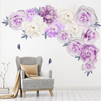 3D Creative purple peony wall sticker art mural living room bedroom  waterproof wall decoration modern home decoration