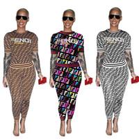 venta de ropa de dama al por mayor-2019 ropa de mujer de verano establece manga corta carta chándal venta caliente damas dos piezas trajes de ropa deportiva