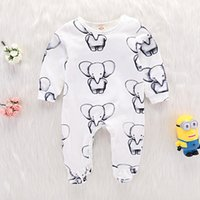 Wholesale cute elephant baby clothes for sale - Group buy 2019 Summer Cute Newborn Baby Boy Girl Cotton Clothes Babies Little Elephant Romper Jumpsuit Outfits Clothing