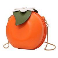 ingrosso borse a forma di frutta-Borsa a tracolla con pochette in pelle a forma di arancia per donna