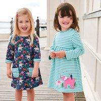 baby mädchen lange kleider großhandel-Einhorn Party Mädchen Frühlings Kleid Tier Applizierte 100% Baumwolle Kinder Langarm Kleid für Baby Kleidung
