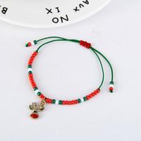 Wholesale best girls gift resale online - High Quality Handmade Boy and Girls Best Christmas Gift Bracelet Small Red White Green Beads Alloy Charm Bracelet