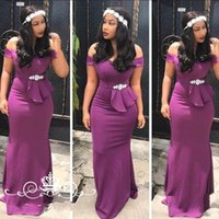 Wholesale olive dress sheath resale online - 2020 Fashion South African Purple Bridesmaid Party Dresses off shoulder Cap Short Sleeves Beaded Bow Country Wedding Party Prom Formal Gowns