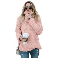 ingrosso vestiti rosa grigio-Felpe con cappuccio Felpa Donna Abbigliamento Autunno Inverno Manica lunga Casual Loose Pink Felpe grigio kaki Taglia S-XL
