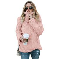 vêtements gris rose achat en gros de-Hoodies Sweat Femmes Vêtements Hiver Automne Automne Manches Longues Casual Lâche Rose Khaki Gris Sweats Taille S-XL