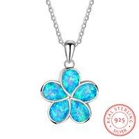 ingrosso blu amazon-Amazon Retails 925 gioielli in argento sterling Lab creato Blue Opal Hawaii pendente del fiore collana gioielli moda JUNLU