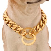 Wholesale dog collar jewelry resale online - 15mm l Stainless Steel Rose Gold Plated Cuban Dog Pet Chain Collar Tone Double Curb Cuban Rombo Link Pet Jewelry