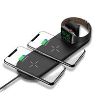 apple мобильное зарядное устройство оптовых-Многофункциональный 3-в-1 беспроводной ABS Часы Мобильный телефон зарядное устройство для Apple, наушники Подставка для зарядки Многофункциональный Зарядная база