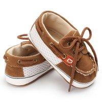 ingrosso calzature scarpette neonate-Baby Shoes Girl Boy Booties Toddler Bambini Primi camminatori Newborn Soft Sole Prewalker Infantili Scarpette allacciate Scarpine per neonati