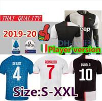 ingrosso migliori maglie-Versione giocatore 2019 2020 Juventus RONALDO DYBALA maglie da calcio per casa 19 20 MANDZUKIC CHIELLINI BERNARDESCHI Maglia da calcio Camiseta S-2XL
