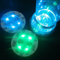Wholesale new year decoration battery resale online - Colorful Round Coasters Replaceable Battery LED Light Up Bottle Stickers Fashion Party Cup Bottom Sticker Popular hl BB