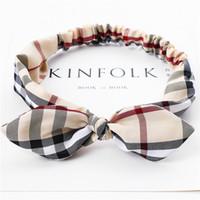 ceintures de marque achat en gros de-Europe et les États-Unis nouvelle marque de mode ceinture de cheveux tissu art treillis élastique arc tête ceinture ceinture dame