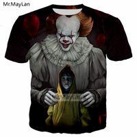 ingrosso 3d camicie horror-Horror Movie It Penny Wise Clown Joker Stampa 3D Tshirt Uomo / Donna Hip Hop Streetwear Tee T shirt anni '90 Ragazzi Cool Vestiti Uomo Top
