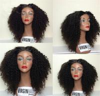 insan dantel peruk malezya toptan satış-Siyah Kadınlar İçin Bebek Saç Doğal Satine Kinky Kıvırcık Malezyalı Bakire Dantel Ön saç Peruk Serbest Bölüm Full Dantel İnsan Saç Peruk