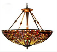 Wholesale red country lamp for sale - Group buy European Baroque Restaurant Tiffany Country Light Classic Inches Decorative Pendant Lighting Living Room Stained Glass Color Pendant Lamp