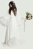Wholesale bell line wedding dress resale online - 2019 Robes Hippie vestido de novia modest chic bohemian spring summer beach wedding dresses long bell sleeves lace bridal gowns plus size