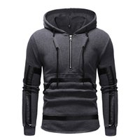 чёрные футболки с кожаной отделкой оптовых-New 2019 Men's Pullover Black Zip Up Hoodies With Pockets Male Sweatshirts Leather Patchwork Long Sleeve Coat  Clothing