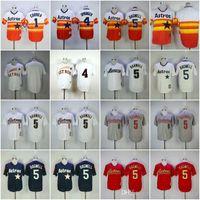 camisetas de beisbol naranja en blanco al por mayor-jerseys baratos AstrosS blanco / 1 # CORREA / 4 # SPRINGER / 5 # BAGWELL Blanco Naranja Azul Gris oscuro camisa de los jerseys de béisbol cosido de calidad superior