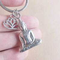 Schlüsselanhänger Buddha Leder Glaube Buddhismus Metall Anhänger Charm