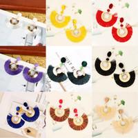 Wholesale fan shaped charms for sale - Group buy Bohemian Fashion Colorful Tassel Earrings For Women Charm Fan Shaped Earrings Statement Jewelry Eardrop Girls Christmas Gift Colors N2Z