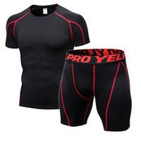 erkekler sıkı egzersiz giysileri toptan satış-Sıkıştırma Spor Sıkı Giyim Erkek Koşu Spor Tişörtlü Şort Egzersiz aşınmasını Koşu Spor Giyim Siyah Külotlu ayarlar Takımları