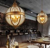 lámpara colgante redonda al por mayor-Vintage Loft Globe Luces colgantes Hierro forjado Pantalla de vidrio Lámpara redonda Cocina Comedor Bar Mesa Luminaria Lámparas colgantes