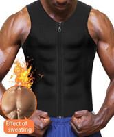 kapatma kayışı toptan satış-Sıcak Sauna Ter Takım Elbise, Fermuar Kapatma Tank Top Gömlek Kilo Kayıp Bel Eğitmen Yelek Ince Kemer Egzersiz için Fitness-Nefes ShaperWear