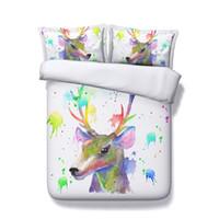 tierdruck weihnachtsdekoration großhandel-Christmas Deer Print dekorative 3 Stück Bettwäsche Set Elch Bettbezug Sets 2 Kissen Shams Geweih Dekor Tier Schädel mit Blumen Aquarell
