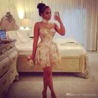 weißes kurzes land prom kleider großhandel-2019 High Neck Gold kurze Heimkehr Kleid arabische afrikanische Junioren Sweet 15 Graduation Cocktail Party Kleid Plus Size Custom Made