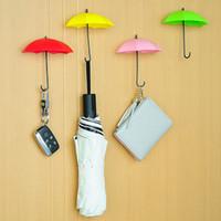 llaves decorativas ganchos al por mayor-Paraguas en forma de ganchos de pared 3 unids / set Dual Key Hanger Rack Holder para cocina habitación baño pared organizador decorativo WX9-1469