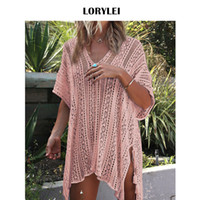 ingrosso bating suits-Oversize Elastico Rosa Sopra Gonna Mesh Dress Plus Size Croceht Beach Cover Up Donna Tunica Sexy Bating Suit Cover-up Sarong N206 Y19060301