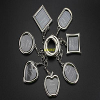 Wholesale keyrings photo frame for sale - Group buy Photo Frame Round Heart Apple Oval Rhombus Shape Metal Alloy Keychain Key Chain Keyring Car Keychains Couples Keyring Gift