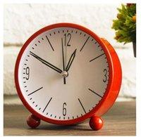 relógio de metal moderno venda por atacado-Rodada de Metal Despertador Sólido Multicolor Mudo Moderno Simples Estilo Mesa Relógio de Mesa Criativo Mini Decoração de Casa ZJ0386