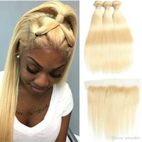 613 fermeture frontale blonde achat en gros de-Préplumée Frontal avec cheveux de bébé 613 Blonde Cheveux vierges péruviens 3 Bundles avec fermetures