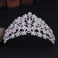 ingrosso tiara di nozze del fiore del diamante-2019 nuovi europei argento fiore diamanti set perla sposa matrimonio corona diadema / inserire il negozio per scegliere più stili