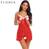 ingrosso piegare il reggiseno-Elover Lingerie sexy Christmas Babydoll Sleepwear Nightwear Solid Bow Red Sleeveless Back Bra Buckle Spaghetti Strap Nightgown