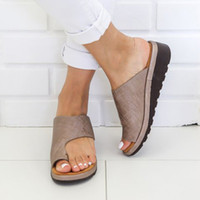 Wholesale bunion shoes for sale - Group buy Slippers Women Comfy Platform Flat Solid Sandals Ladies Beach Shoes Casual Soft Sandal othopedic Bunion Corrector