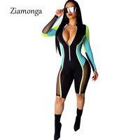 trajes de vendaje de las mujeres al por mayor-Ziamonga manga larga bodycon mamelucos para mujer mono de una pieza de cuello en V profundo de malla vendaje corto mono traje casual para mujeres