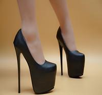 ultra sexy plattform fersen großhandel-ultra high heels frauen schuhe stiletto wasserdichte plattform schuhe europa und amerika nachtclub sexy schwarz 17 cm high heels hnj78