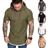 Wholesale shirt muscle xxl for sale - Group buy Mens Fit Slim Summer T shirt colors Casual solid Short sleeve Shirt Tops Clothes hoodies Muscle Tee shirt