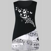 siyah çiçek tunik toptan satış-Yaz Üstleri Bayan Giyim Kolsuz Nota Baskı Çiçek Siyah Gömlek Üst Kırpma Tunik Camiseta Lencera Mujer De Encaje # 4