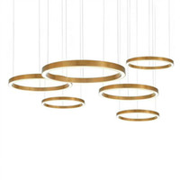 sanat projeleri toptan satış-Altın yüzük tasarımı modern LED avize lamba paslanmaz çelik altın avize oturma aydınlatma ve projeler ışıkları