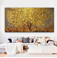 abstrakte kunst baum gemälde großhandel-100% Handgemalte Spachtel Golden Tree Ölgemälde Auf Baumwolle Leinwand Große 3D Abstrakte Wandkunst Bilder Für Wohnzimmer