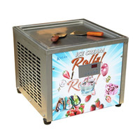 Wholesale Free shipment EU US x45CM quot ice pan mini fry ice cream machine fried ice cream machine w auto defrost PCB of samrt AI temp controller