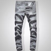 jeans sólidos venda por atacado-Cinza Jeans Homens Slim Fit Denim Cor Sólida Hip Hop Streetwear Jeans Motociclista 744 #
