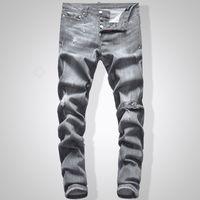 jean slim marron hommes s achat en gros de-Jeans gris Hommes Jeans Slim Fit Denim Couleur Unie Hip Hop Biker Streetwear 744 #