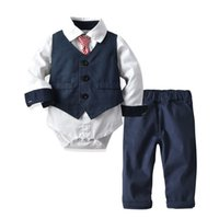 Hooyi Baby Boy Gentleman Tie Rompers Khaki Plaid Short Bodysuit